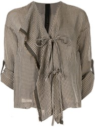 Forme D'expression Gingham Top Brown
