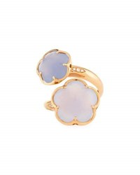 Pasquale Bruni Bon Ton Chalcedony Flower Bypass Ring In 18K Rose Gold