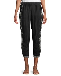 Johnny Was Ciro Embroidered Jogger Pants Black
