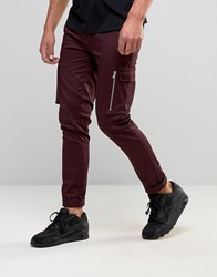 Asos Super Skinny Smart Trousers With Side Pockets In Burgundy Burgundy Red