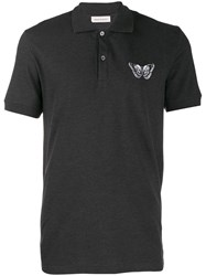 Alexander Mcqueen Embroidered Butterfly Polo Shirt Grey
