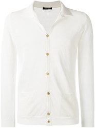 Roberto Collina Perforated Detail Cardigan White