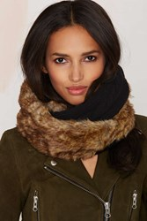 Nasty Gal Jaime Faux Fur Cable Knit Infinity Scarf Black
