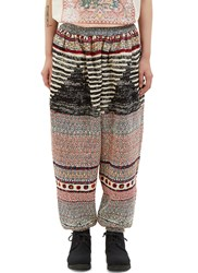 Anntian Oversized Patterned Dropped Crotch Pants Black