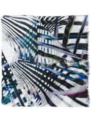 Marc Cain Graphic Pattern Print Scarf Blue