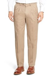 Nordstrom Men's Big And Tall Men's Shop 'Classic' Supima Cotton Pleated Trousers Tan Desert