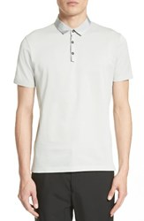 Lanvin Men's Grosgrain Collar Polo Silver