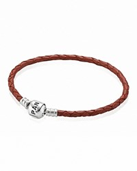 Pandora Design Pandora Bracelet Red Leather Single Wrap With Sterling Silver Clasp Moments Collection Red Silver