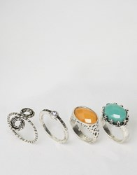 Asos Pack Of 4 Spiral And Stone Rings Rhodium Silver