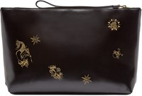 Alexander Mcqueen Black Patent Leather Tattoo Pouch