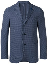 Lardini Plaid Blazer Blue