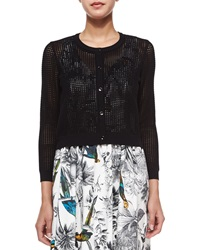 Milly Cropped Mesh Cardigan Black