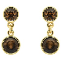 Monet Champagne Crystal Drop Earrings Gold Topaz