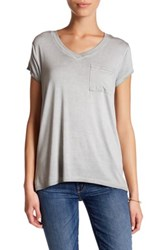 Cable And Gauge Washed V Neck Tee Petite Gray