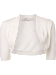 Lela Rose Cropped Bolero Cardigan White