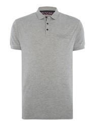 Linea Jeter Mercerised Rib Collar Polo Grey Marl