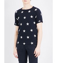 Sandro Star Print Cotton T Shirt Navy Blue