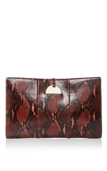 Aerin Large Zip Pouch With Disk Closure Burgundy