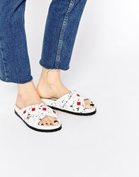 Kat Maconie Fifi White Paint Splat Slider Flat Sandals White