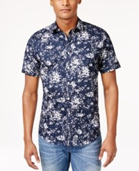 Inc International Concepts Men's Abstract Print Poplin Short Sleeve Shirt Only At Macy's Navy