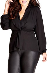 City Chic Plus Size Women's Knot Front Top Black