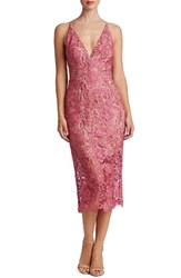 Dress The Population Women's 'Marie' Lace Midi Magenta