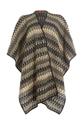Missoni Knitted Wool Cape Multicolor