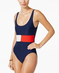 Tommy Hilfiger Logo Print One Piece Swimsuit Women's Swimsuit Navy