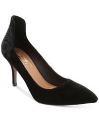 Nanette Lepore By Sophie Embroidered Pointed Toe Pumps Women's Shoes Black