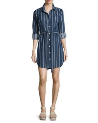 7 For All Mankind Striped Denim Belted Shirtdress Indigo