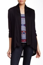Hip Hacci Ruched Sleeve Cozy Cardigan Black