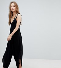 Akasa Fluted Leg Beach Jumpsuit With Pom Pom Ties Black