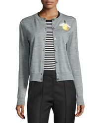 Marc Jacobs Light Bulb Merino Wool Cardigan Gray