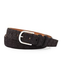 W.Kleinberg Sueded Crocodile Belt Black
