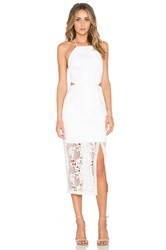 Nicholas Fleur Lace Criss Cross Back Dress White