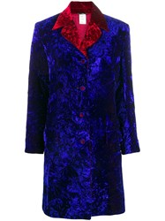 Versace Vintage Crushed Velvet Coat Blue