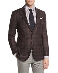 Ermenegildo Zegna Plaid Two Button Wool Sport Coat Burgundy Gray