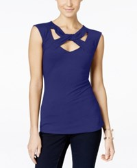 Inc International Concepts Cap Sleeve Cutout Top Only At Macy's Goddess Blue