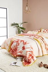Anthropologie Dyed Patchwork Quilt Coral