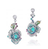 Anna Hu Haute Joaillerie Rose Ribbon Collection Rose Ribbon Earrings In Paraiba Tourmaline Blue