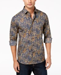 Tallia Men's Modern Fit Ochre Floral Print Dress Shirt