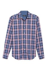 Bugatchi Men's Slim Fit Madras Plaid Sport Shirt Navy