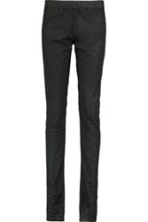 Rick Owens Dark Shadow Coated Stretch Cotton Skinny Pants Black