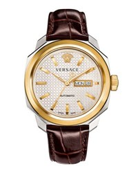 Versace 44Mm Men's Dylos Automatic Watch W Leather Strap Brown
