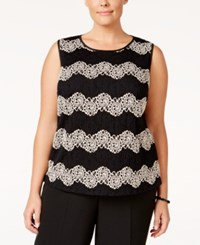 Kasper Plus Size Lace Chevron Pattern Shell Champagne