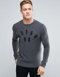 Sisley Crew Neck Dream On Knitted Jumper In Cashmere Mix Grey 80C