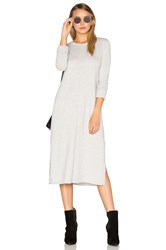 Michael Stars Cashmere Blend Slit Sweater Midi Dress Light Gray