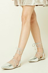 Forever 21 Metallic Lace Up Flats