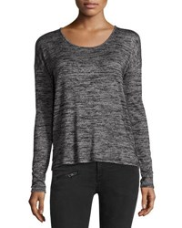 Rag And Bone Mia Heather Knit Long Sleeve Surplice Back Top Black Gray Black Gray