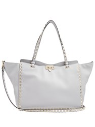 Valentino Rockstud Medium Leather Tote Light Grey